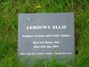 Plaque to Dylan's daughter Aeronwy in the garden at the Boathouse