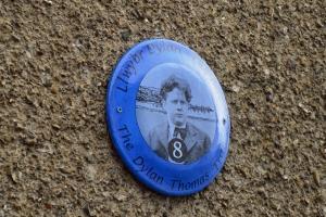Dylan Thomas Trail plaque, New Quay